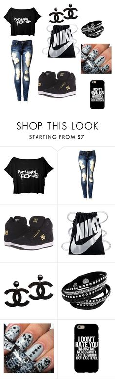 """school outfits"" by angie-1669 ❤ liked on Polyvore featuring DC Shoes and NIKE"