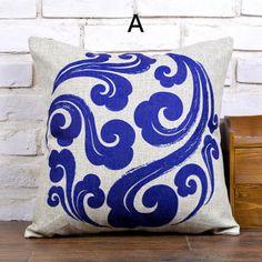 Blue and white clouds throw pillows Chinoiserie sofa cushions cheap