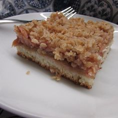 Homemade rhubarb compote is spooned over cake batter and topped with a crumb topping for a delightful dessert during rhubarb season. Rhubarb Compote, Rhubarb Cake, Whole Food Recipes, Cake Recipes, Dessert Recipes, Desserts, Orange Chiffon Cake, Icebox Cake, Moist Cakes