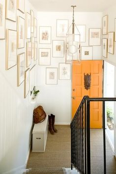 gallery wall - love these thin gold frames with huge mats