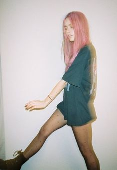 pink hair + oversized band tee + boots = babe