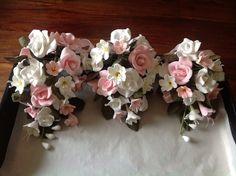 Pretty pink and white rose and freesia sugar sprays