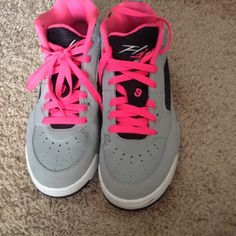 Grey,pink and black Jordan's Only worn two times! Great Condition! There a size 6 in youth. But in women's I wear a size 7 so it's equivalent to that. Nike Shoes