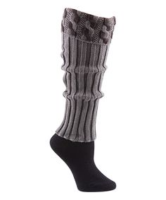 Look at this #zulilyfind! Mona B Gray & Black Cable Knit Leg Warmers by Mona B #zulilyfinds