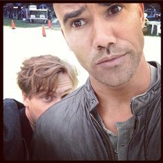 """TICKLE TICKLE BABY BOY!!!! Just another day goofballin on the set of Criminal Minds"" via Shemar Moore"