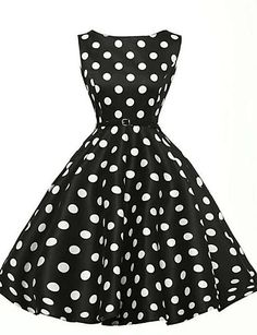 Women's Party Plus Size Vintage A Line Dress,Polka Dot Boat Neck Knee-length Sleeveless Cotton Polyester Summer High Rise