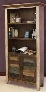 Antique Multicolor Bookcase with 2 Doors