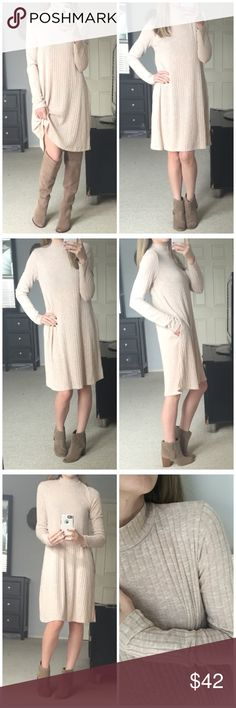 """▫️Oatmeal Wide Ribbed LS Dress w/ Pockets My favorite listing this week 😍 Oatmeal wide ribbed dress with mock neck and long sleeves. Love that it has pockets!! So incredibly comfortable, soft and very stretchy! Perfect fit! Great neutral color that can be easily layered with a fun best or chunky cardigan, boots or booties, and statement jewelry! It's a blank canvas! Modeling small. 95% polyester 5% spandex. Measurements as follows: Bust: (S) 17"""" (M) 18"""" (L) 19"""" Length: (S) 36"""" (M) 36.5""""…"""