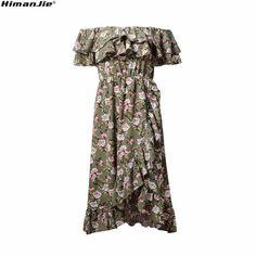 18c39958dbb ... плечами рюшами эластичный с коротким рукавом талии платье нерегулярные  гофрированные подол цветочный принт миди пляжные платья купить на AliExpress