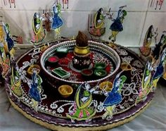 A beautiful handmade pooja thali fancygabe pinterest for Aarti thali decoration with clay