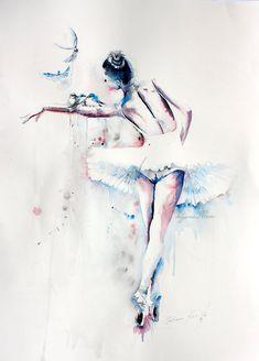 Ballerina Aquarell Kunstdruck. Wandkunst Wanddekoration
