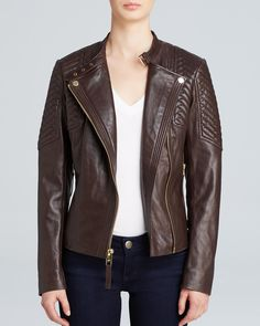 MICHAEL Michael Kors Jacket - Missy Leather Quilted Moto | Bloomingdale's