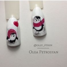 cute happy penguins painting nail art. pretty winter nail design. Christmas festive holidays nails