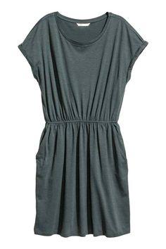 Tricot jurk met korte mouwen - Petrol gemêleerd - DAMES | H&M NL