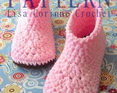 Crochet Slippers PATTERN Womens House by LisaCorinneCrochet