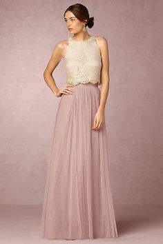 38 Chic And Trendy Bridesmaids' Separates Ideas: rose quartz maxi tulle skirt and an ivory lace top Two Piece Bridesmaid Dresses, Tulle Skirt Bridesmaid, Bridesmaid Separates, Bridal Separates, Prom Dresses, Formal Dresses, Wedding Dresses, Bridesmaid Ideas, Ivory Lace Top