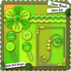 Neon Beads Digital Scrapbooking Mini Kit by Latte Dah Designs