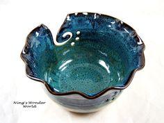 Yarn bowl, knitting bowl, yarn holder, large, teal, turquoise - No.4