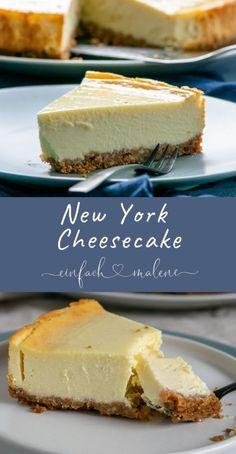 Original New York cheesecake - creamy and idyllically delicious. The cheesecake on .- Original New York Cheesecake – cremig und abgöttisch lecker. Der Käsekuchen au… Original New York Cheesecake – creamy and idolatrous … - Easy Vanilla Cake Recipe, Chocolate Cake Recipe Easy, Chocolate Cookie Recipes, Chocolate Chips, Chocolate Ganache, Easy Cheesecake Recipes, Easy Cookie Recipes, Dessert Recipes, Healthy Recipes
