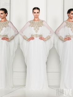 2014 Zuhair Murad Fashion Crew Long Sleeve Sheer Chiffon Prom Dress muslim wedding dress