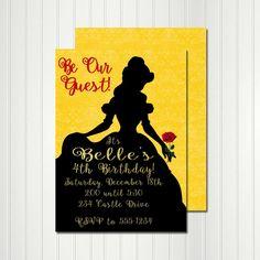 Belle Invitation Belle Silhouette Belle by CherryBonBonDesigns