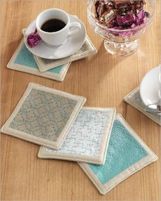 Sashiko Coasters - Interweave; these are so sweet and would make great hostess gifts