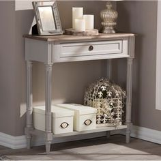 Baxton Studio Edouard French Provincial Distressed Console Table - Free Shipping Today - Overstock.com - 17880014 - Mobile