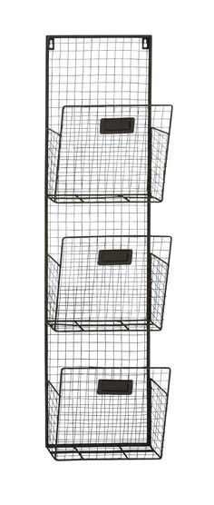 """38"""" Rustic Wire 3 Pocket Wall Organizer Letter Holder Office Decor"""