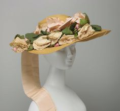 Leghorn Hat: ca. early 20th century, American, leghorn straw, taffeta ribbons, bows and streamers, artificial flowers.