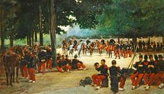 Infantry regiment relaxing on the Bois de Boulogne during a review, c.1885 (oil on canvas) by Jean-Baptiste Edouard Detaille