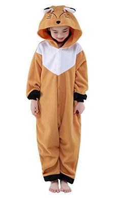 Newcosplay Unisex Children Brown Fox Pyjamas Halloween Onesie Costume 10height 5659
