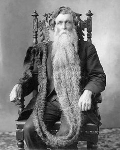 Bearded Man with Long Longest Beard Unusual Vintage Photography Victorian Edwardian Sepia or Black and White from Cabinet Card Photo Print