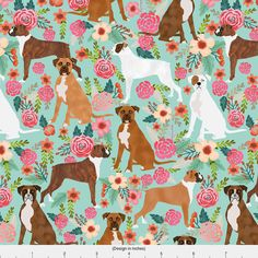 1 yard (or 1 fat quarter) of boxer dog flowers florals mint cute flowers trendy painted vintage florals boxer dogs by designer petfriendly. Printed on Organic Cotton Knit, Linen Cotton Canvas, Organic Cotton Sateen, Kona Cotton, Basic Cotton Ultra, Cotton Poplin, Minky, Fleece, or Satin fabric. Available in yards and quarter yards (fat quarter). This fabric is digitally printed on demand as orders are placed. Unlike conventional textile manufacturing, very little waste of fabric, ink, water…