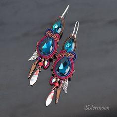 Soutache Earrings, Blue Earrings, Statement Earrings, Dangle Earrings, Organza Bags, Natural Leather, Turquoise Bracelet, Hermes, Jewelry Box