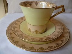 Art Deco Royal Albert Crown China Trio Cup Saucer Side Plate Yellow Peach | eBay