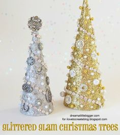 DIY Glittered Glam Christmas Trees