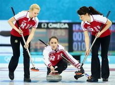 DAY 4:  Anna Sidorova of Russia in action during the Curling Women's Round Robin Session 1 - Denmark vs. Russia