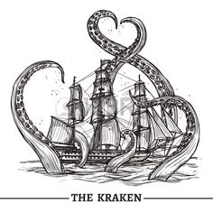 kraken Giant Octopus Catches Old Style Sail Ship Hand Drawn Vector Illustration Royalty Free Cliparts, Vectors, And Stock Illustration. Le Kraken, Kraken Art, Kraken Tattoo, Pirate Tattoo, Octopus Drawing, Octopus Art, Octopus Outline, Octopus Painting, Octopus Illustration