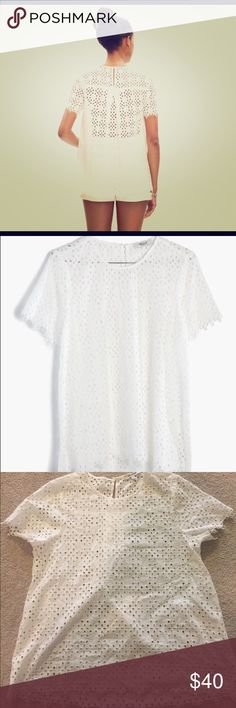 NWT madewell eyelet tailored tee size small So cute! Size small :). Great condition. Madewell Tops