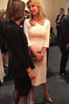 Ivanka Trump wearing J.Crew Roxie Houndstooth Pumps, Rebecca De Ravenel Les Bonbons Earrings and Roland Mouret Dagnall Dress