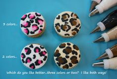 Leopard print on cupcakes Animal Print Cupcakes, Cupcake Cookies, Cupcake Frosting, Cake Decorating Tutorials, Cookie Decorating, Cupcake Tutorial, Cakes And More, Crack Crackers, Tutorials