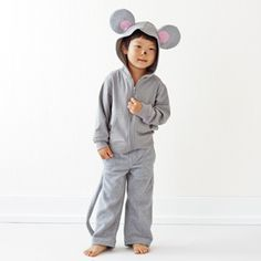 DIY, no-sew Halloween Costumes for Kids. This mouse costume can be completely no-sew if you use a hot glue gun.