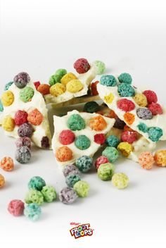 Froot Loops Blooper Bark.  Melt white chocolate and spread it on a waxed paper-covered cookie sheet. Sprinkle with Froot Loops Bloopers. Let harden and break into pieces. Your kids will love to bite this bark!