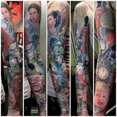 Labyrinth Tattoo sleeve by Aaron Peters Labrynth Tattoo, Small Tattoos, Cool Tattoos, David Bowie Tattoo, Labyrinth Movie, Skin Candy, Cute Tats, Goblin King, Skin Art
