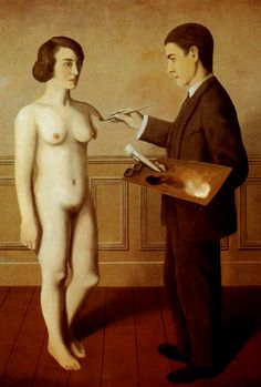 Rene Magritte Attempting the Impossible 1928  A variation upon the legend of the sculptor Pygmalion, who himself created his dream woman.  Pygmalion required divine assistance to bring his sculpture to life;  here, the artist succeeds simply through his powers of imagination and his belief in the impossible.