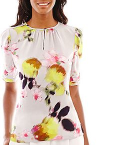 Liz Claiborne Elbow-Sleeve Floral Blouse #floral #pink #yellow #green #chartreuse #blouse #fashion