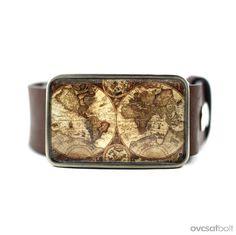 Vintage Map Belt Buckle