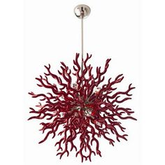 Arteriors Home Diallo Red Chandelier, Large - Arteriors Home 89984 ($3,009) ❤ liked on Polyvore featuring home, lighting, ceiling lights, sphere lamp, orb chandelier, t8 light, red chili pepper lights and red lights