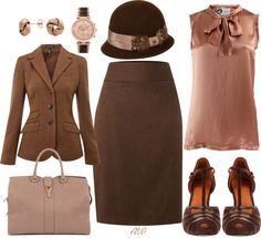 """""""Dusty Rose and Brown"""" by amy-phelps on Polyvore"""