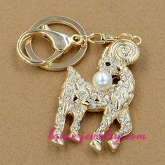 Fashion sheep with rhinestone beads decorated key chain